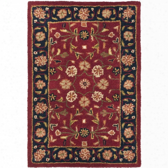 Safavieh Heritage 11' X 15' Hand Tufted Wool Pile Rug In Red And Navy
