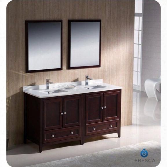 Fresca Oxford 60 Bathroom Vanity In Mahogany-fiora In Chrome