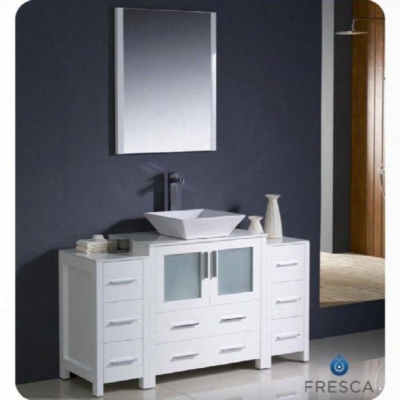 Fresca Torino 54 Bathroom Vanity In White-tolerus In Chrome