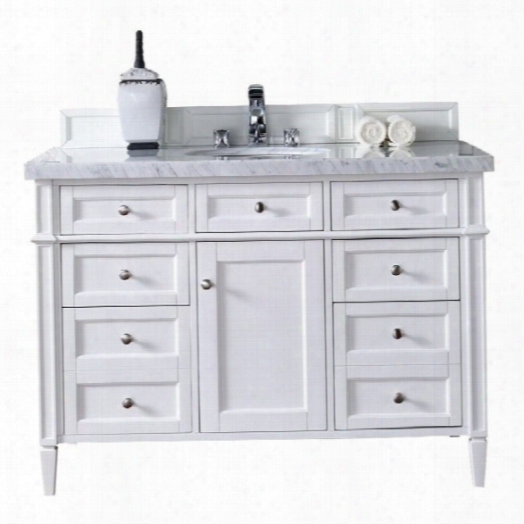 James Martin Brittany 48 Single Bathroom Vanity In White-4cm Absolute Black Rustic