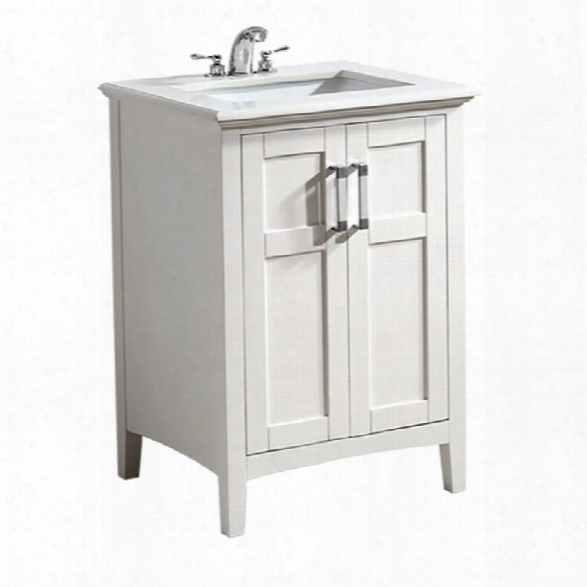 Simpli Home Winston 25 Bath Vanity With Quartz Marble Top In White