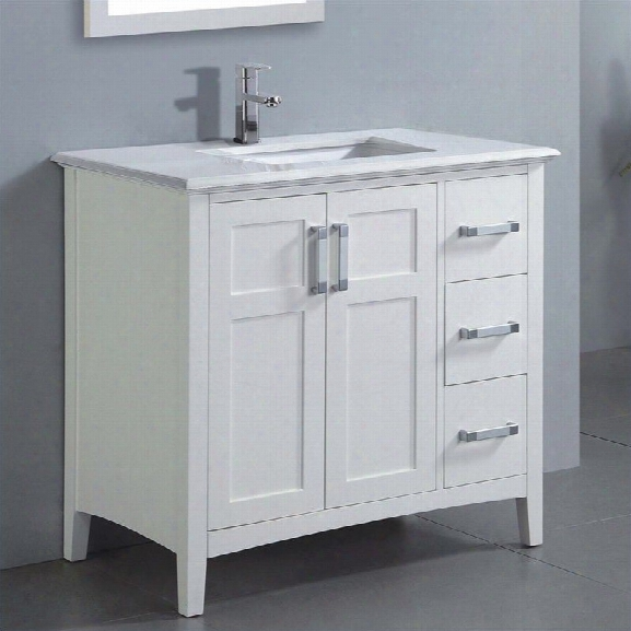 Simpli Home Winston 37 Bath Vanity With Quartz Marble Top In White