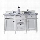 James Martin Brittany 60 Double Bathroom Vanity in White-4cm Carrara White