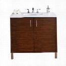James Martin Metropolitan 36 Single Bathroom Vanity in Walnut-3cm Snow White