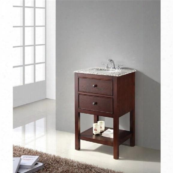 Simpli Home Burnaby Single Granite Top Bathroom Vanity In Walnut Brown
