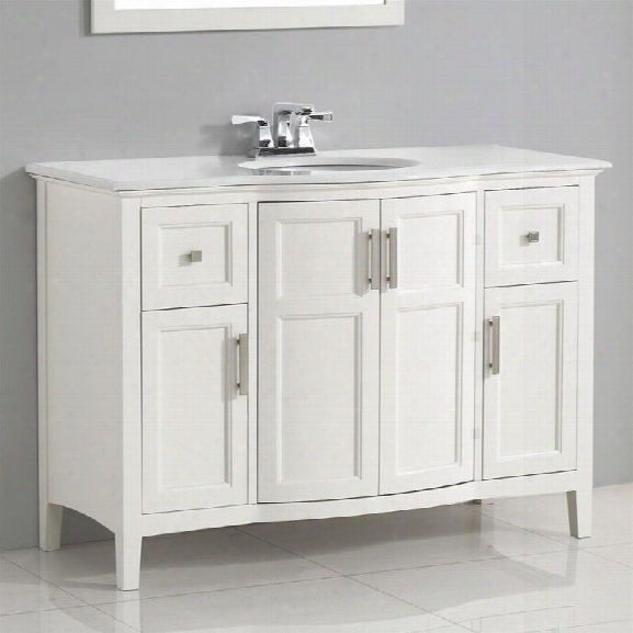 Simpli Home Winston 48 Bath Vanity With Rounded Front In Soft White