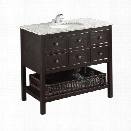 Simpli Home Burnaby 37 Bath Vanity with Gray Granite Top in Espresso