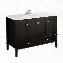 Simpli Home Chelsea 49 Bath Vanity with Quartz Marble Top in Black