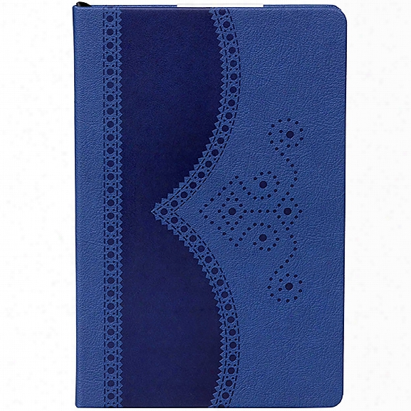 A5 Brogue Notebook In Textured Blue Design By Ted Baker