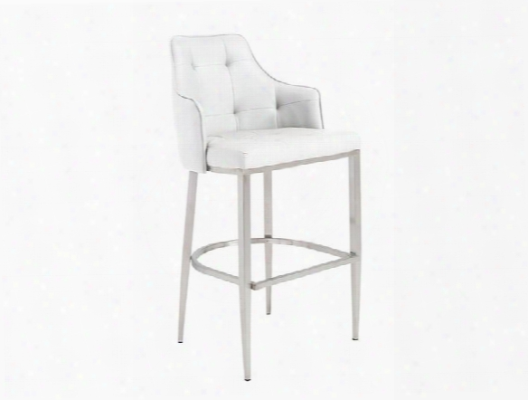 Aaron-b Bar Stool In White Design By Euro Sstyle