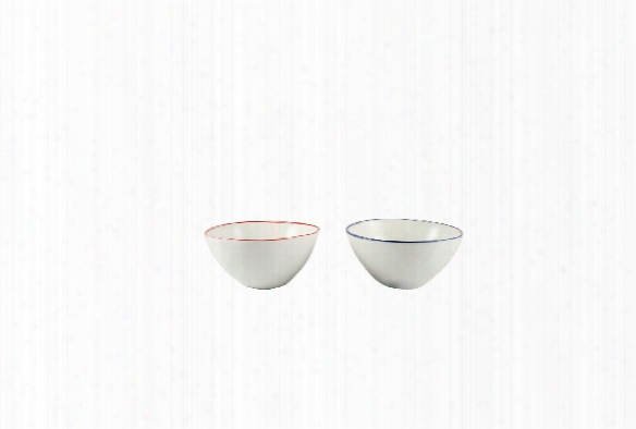 Abbesses Small Bowl With Red Or Blue Rim By Canvas