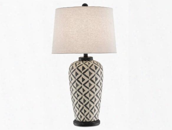 Abenaki Table Lamp In Cream & Black Design By Currey & Company