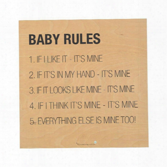 "Baby Rules"" Wall Decor Design By Bd Mini"