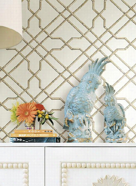 Bamboo Trellis Wallpaper In Neutral Design By York Wallcoverings