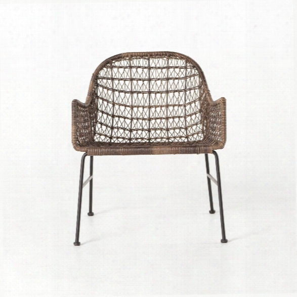 Bandera Outdoor Woven Club Chair In Distressed Grey
