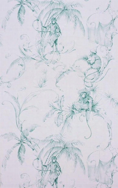 Barbary Toile Wallpaper In Aqua By Nina Campbell For Osborne & Little