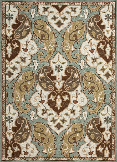 Barcelona Collection Hoja Rug In Sea Blue Design By Jaipur