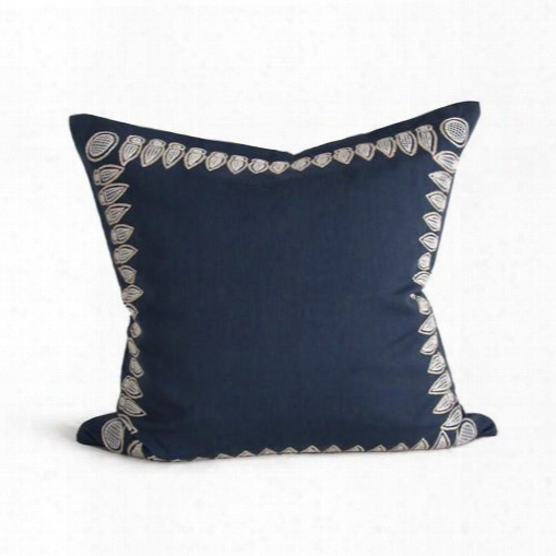 Basilica Pillow In Stormy Blue & Bone Design By Bliss Studio
