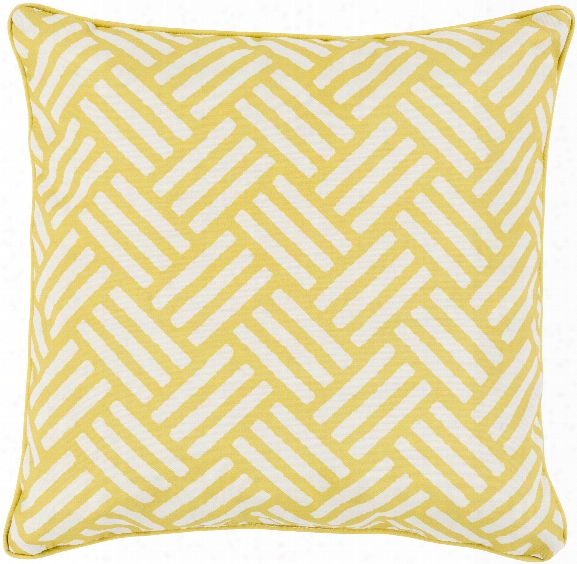 "Basketweave 20"" Outdoor Pillow In Gold & Ivory Design By Surya"