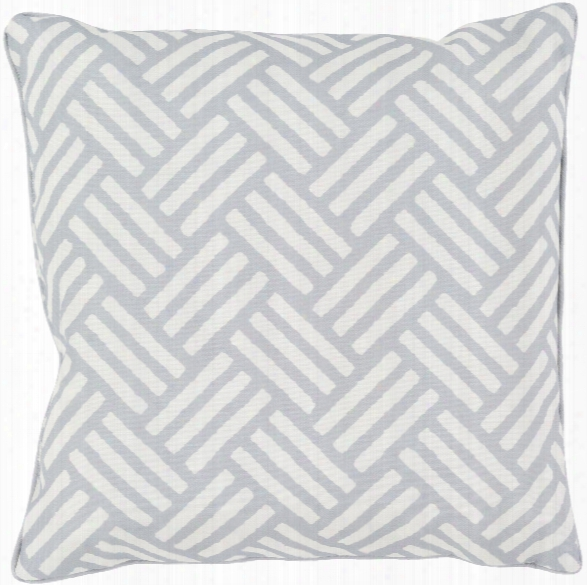"Basketweave 20"" Outdoor Pillow In Light Grey & White Design By Surya"