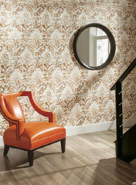 Batik Damask Wallpaper In Orange Design By Carey Lind For York Wallcoverings