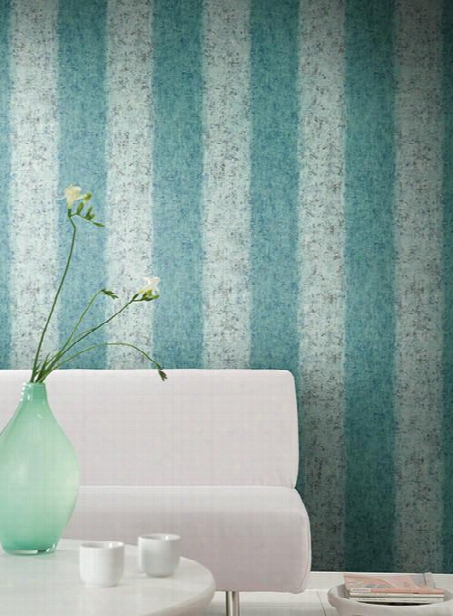 Batik Ogee Stripe Wallpaper In Aqua Design By Carey Lind For York Wallcoverings