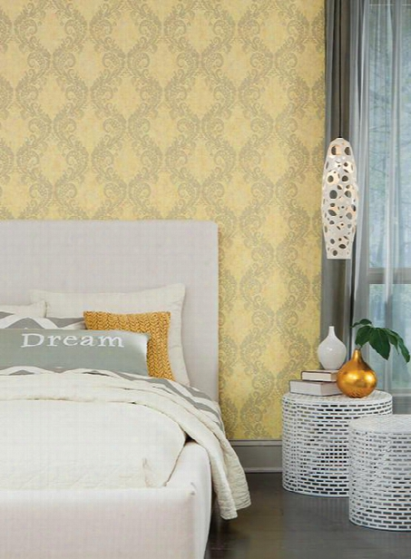 Batik Ogee Wallpaper In Yellow Design By Carey Lind For York Wallcoverings