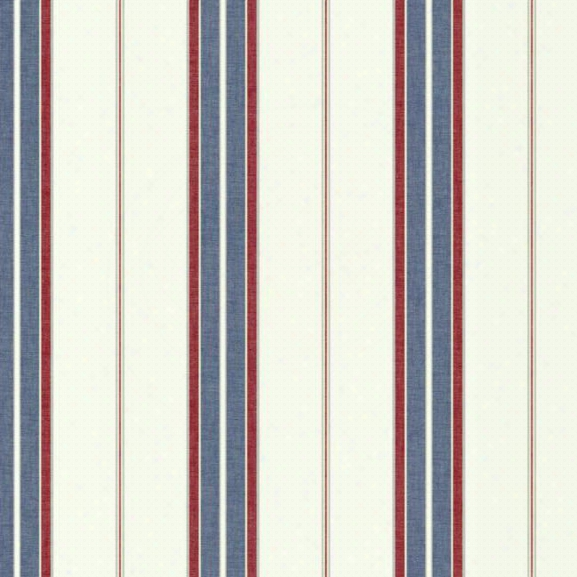 Bay Stripe 2 Wallpaper In Red, Blue, And Cream Design By York Wallcoverings
