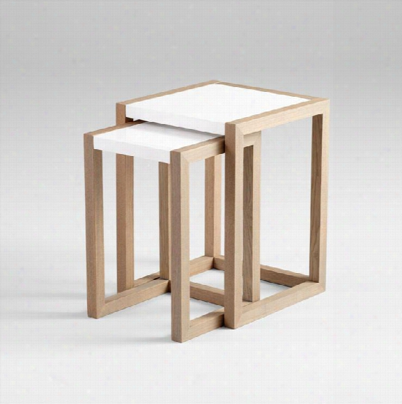 Becket Nesting Tables In Grey Veneer & White Design By Cyan Design