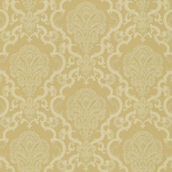 Sample Halifax Lace Wallpaper In Gold And White Design By York Wallcoverings