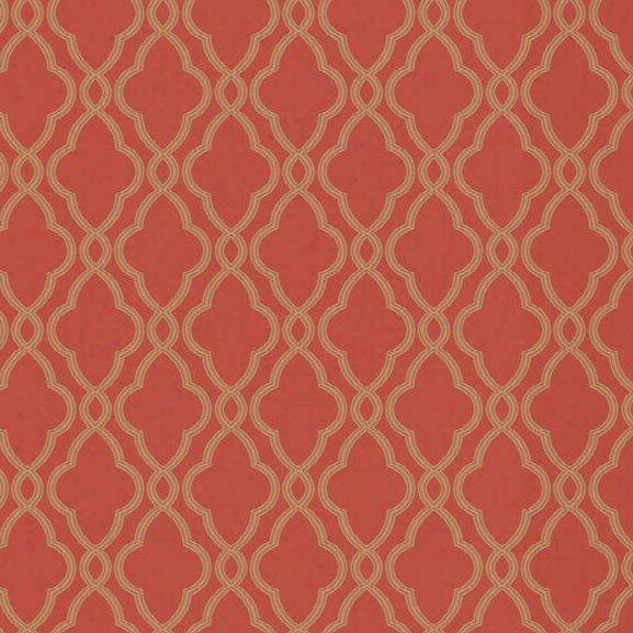 Sample Hammpton Trellis Wallpaper In Coral Design By York Wallcoverings