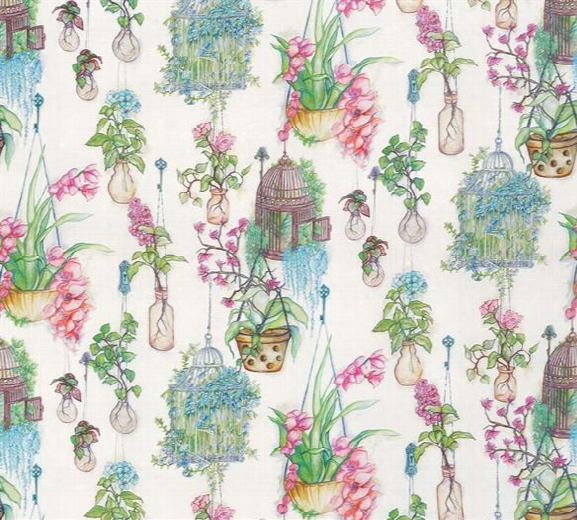 Sample Hanging Gardens Fabric In Emerald And Fuchsia From The Enchanted Gardens Collection By Osborne & Little