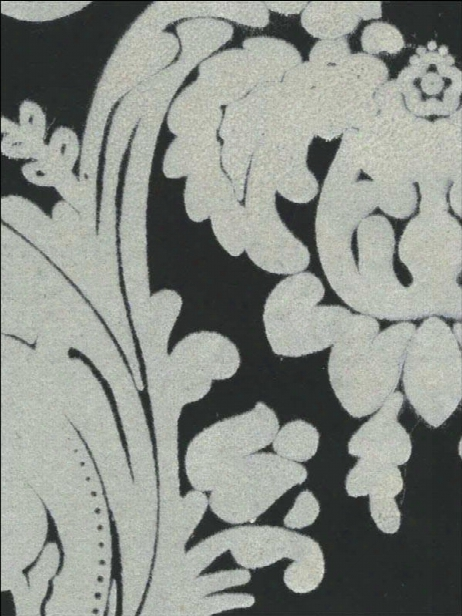 Sample Heirloom Damask Velvet Flocked Wallpaper In Ebony And White From The Plush Collection By Burke Decor