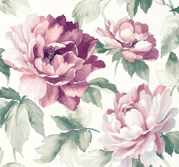Sample Ida Floral Wallpaper In Purples And Ivory By Carl Robinson For Seabrook Wallcoverings