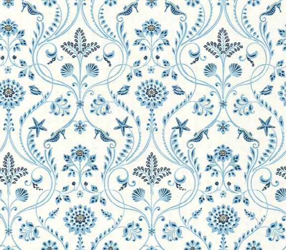 Sample Island Blue Damask Wallpaper From The Seaside Living Collection By Brewster Home Fashions