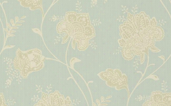 Sample Jacobean Floral Wallpaper In Greens, Metallic, And Ivory Design By Seabrook Wallcoverings