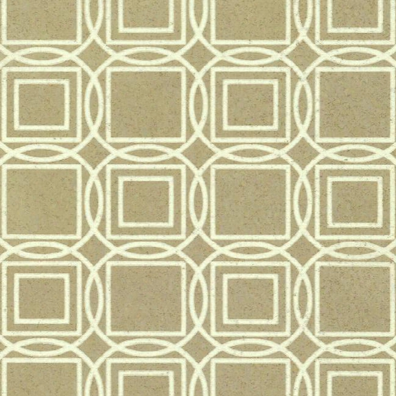 Sample Labyrinth Cork Print Wallpaper In Gold And White By Ronald Redding For York Wallcoverings