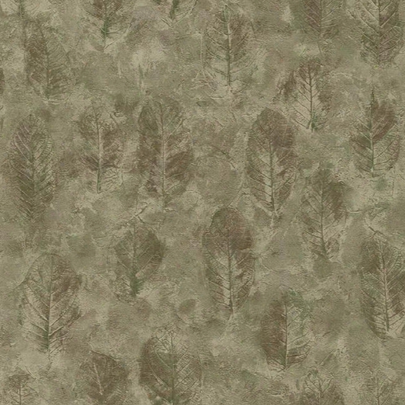 Sample Leaf Texture Wallpaper In Brown And Green By York Wallcoverings