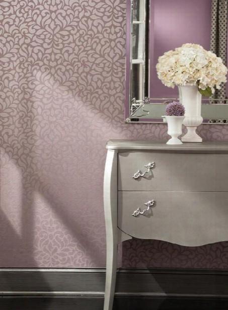 Sample Lotus Wallpaper In Plum Design By Carey Lind For York Wallcoverings