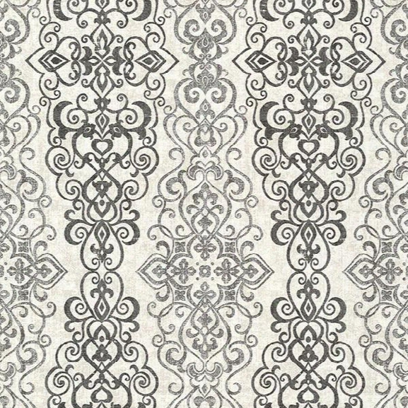 Sample Mexuar Black Filigree Stripe Wallpaper From The Alhambra Collection By Brewster Home Fashions