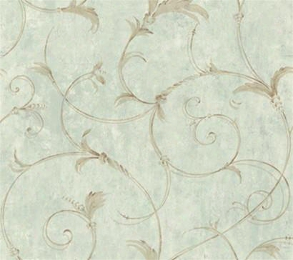 Sample Of Acanthus Scroll Wallpaper - York Wallcoverings