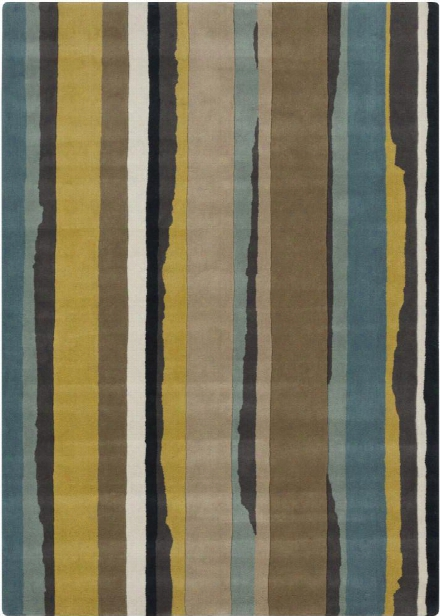 Sanderson Collection 100% Wool Area Rug In Blue Haze And Green-yellow Design By Sanderson