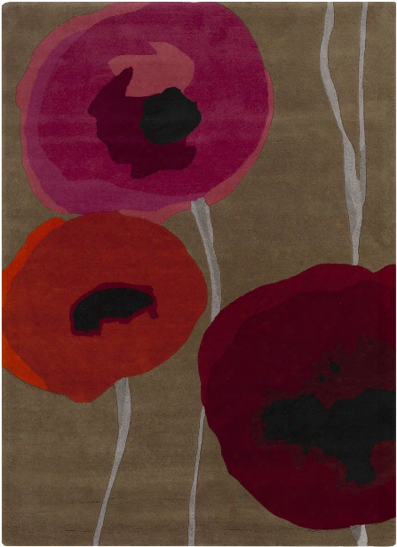 Sanderson Collection 100% Wool Area Rug In Caper Green And Venetian Red Design By Sanderson