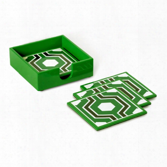 Sasoon Coasters W/ Coaster Holder In Green Design By Bungalow 5