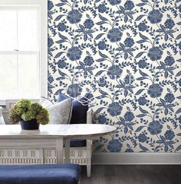 Classic Floral Wallpaper In Blues And White Design By Seabrook Wallcoverings