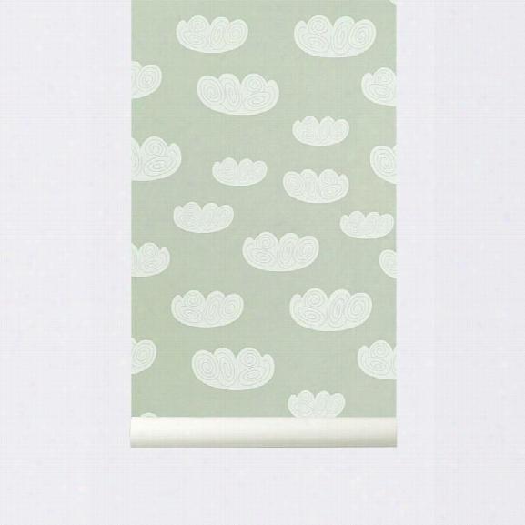 Cloud Kid's Wallpaper In Mint Design By Ferm Living