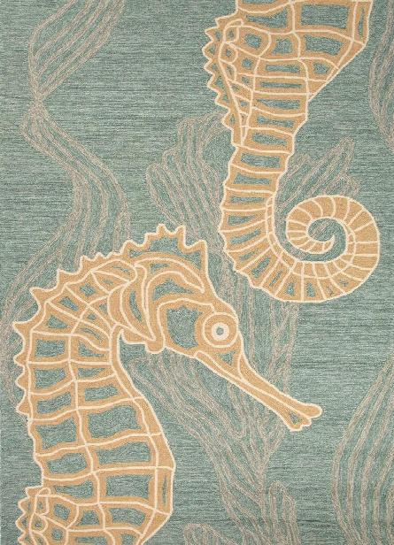 Coastal Living Collection Sea Horsing Around Rug In Light Blue Design By Jaipur