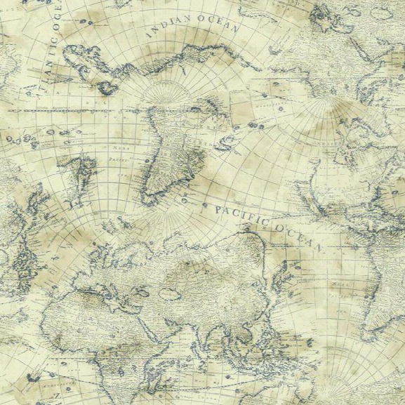 Coastal Map Wallpaper In Blue And Cream Design By York Wallcoverings