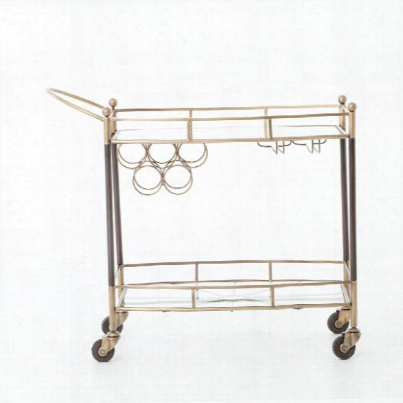 Coles Bar Cart In Antique Brass