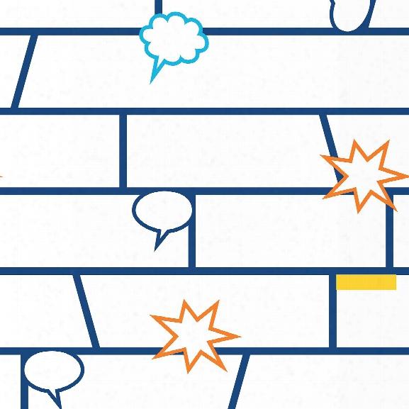 Comic Book Self Adhesive Wallpaper In Blue By Tempaper